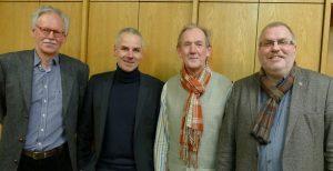 Der Vorstand des Dombau-Vereins Minden mit (v. l.) Geschäftsführer Dietrich Seele, stellvertretendem Vorsitzenden Gerd Stenz, Schatzmeister Hans-Jürgen Trakies und Vorsitzendem Hans-Jürgen Amtage. Foto: DVM